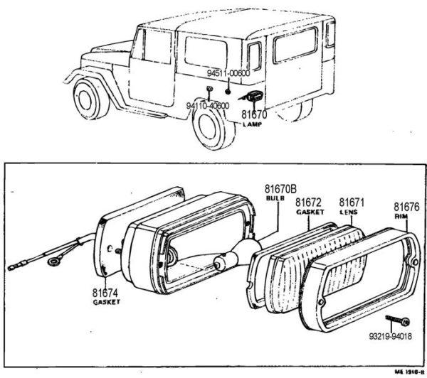 Back Up Lamp Assembley for Land Cruiser 10/69-9/72-0
