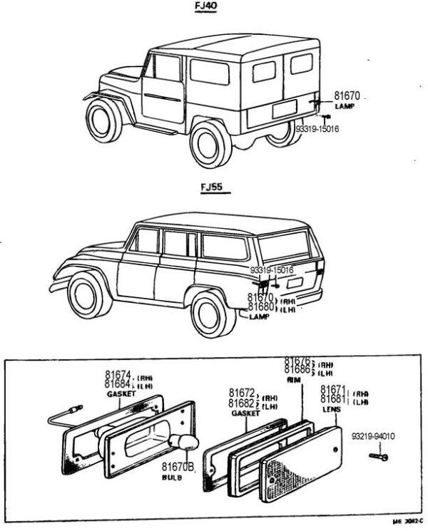 Back Up Lamp Assembley for Land Cruiser 10/69-9/72-19748