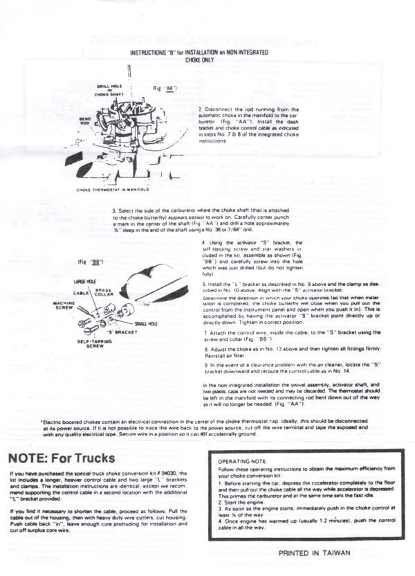 Manual Choke Conversion Weber Carb DGES DGEV 32/36 38mm-1236