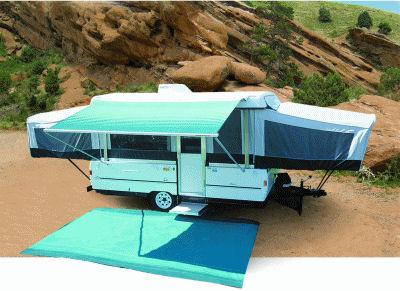 13 ft Campout Bag Awning in Teal Blue Denim Stripes for Pop Up Camper Trailer-21049