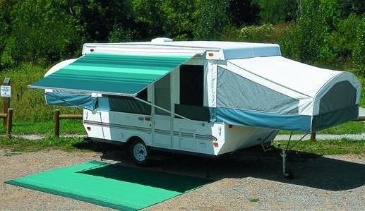 13 ft Campout Bag Awning in Sierra Brown Denim Stripes for Pop Up Camper Trailer-21045