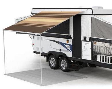 13 ft Campout Bag Awning in Sierra Brown Denim Stripes for Pop Up Camper Trailer-0