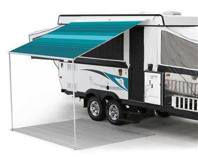 13 ft Campout Bag Awning in Teal Blue Denim Stripes for Pop Up Camper Trailer-0