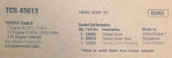 TIMING GEAR COVER GASKET SET Toyota Land Cruiser FJ40 FJ60 FJ62 1F 2F 3F Kit-3340