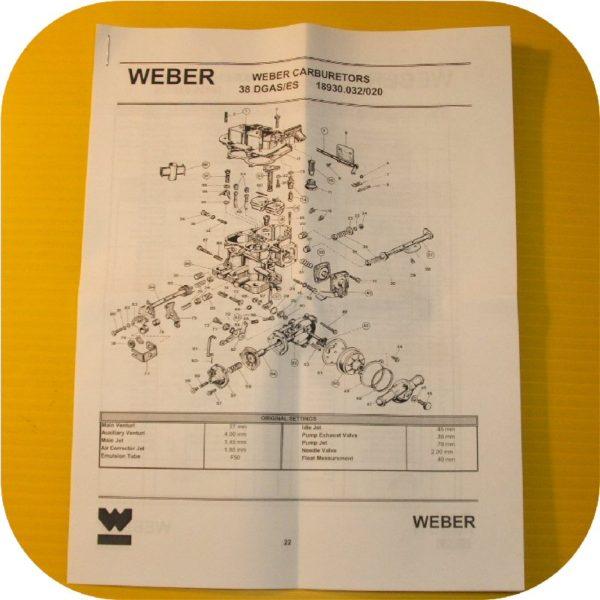 Weber Carburetor 38/38 DGES Rebuild Gasket Kit-22433